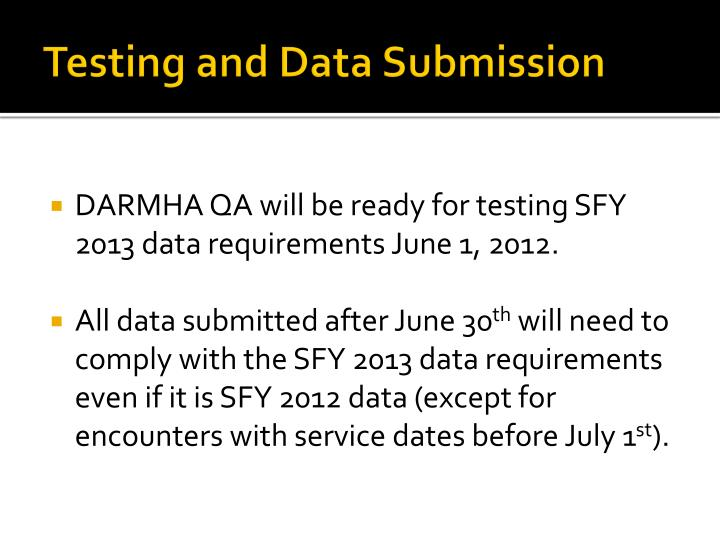 Testing and Data Submission