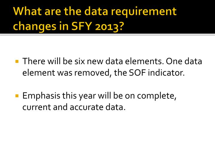 What are the data requirement changes in SFY 2013?