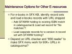 maintenance options for other e resources