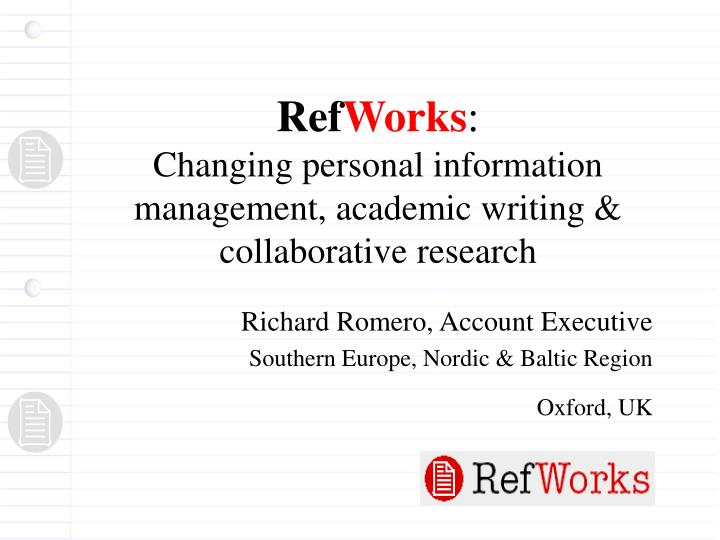 ref works changing personal information management academic writing collaborative research n.