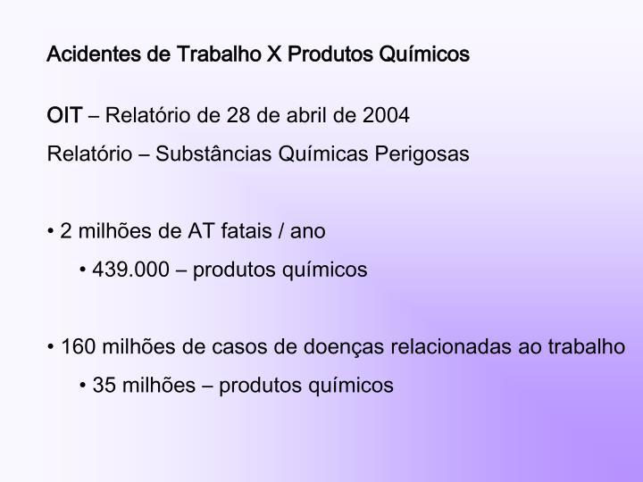 Acidentes de Trabalho X Produtos Químicos