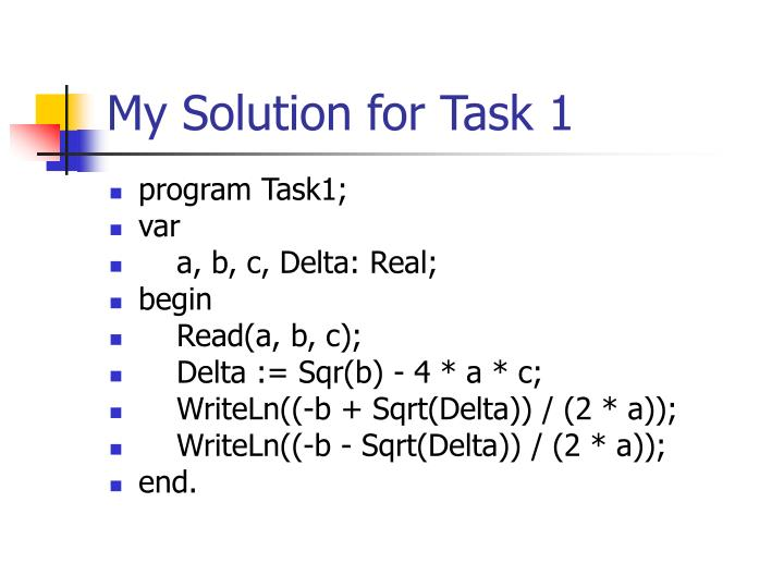 My Solution for Task 1