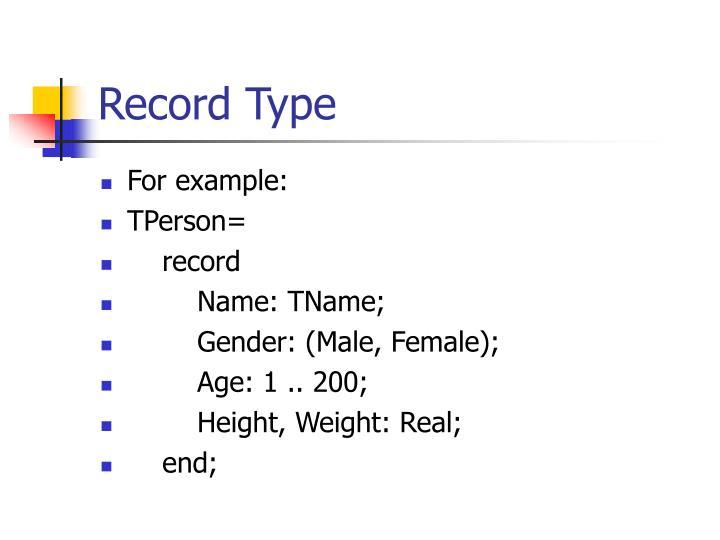 Record Type