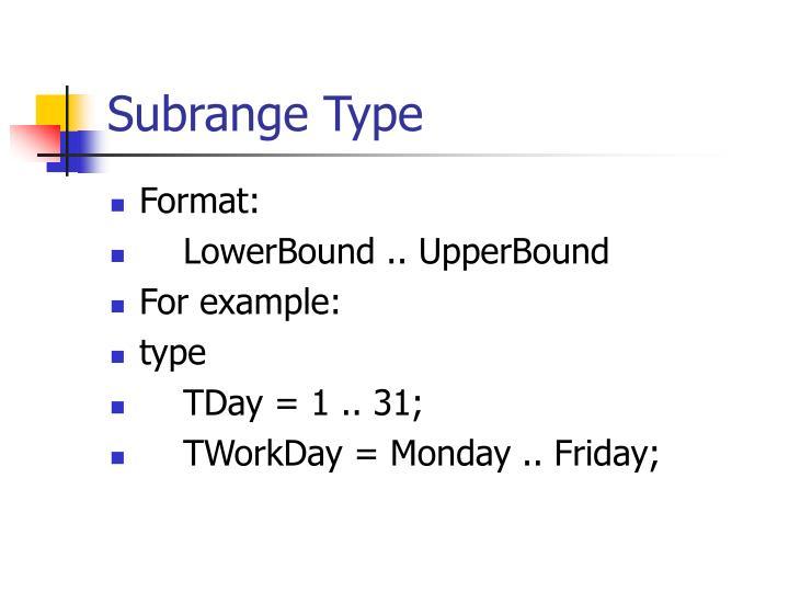 Subrange Type
