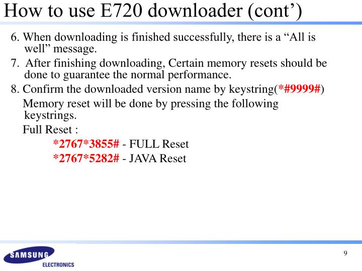 How to use E720 downloader (cont')