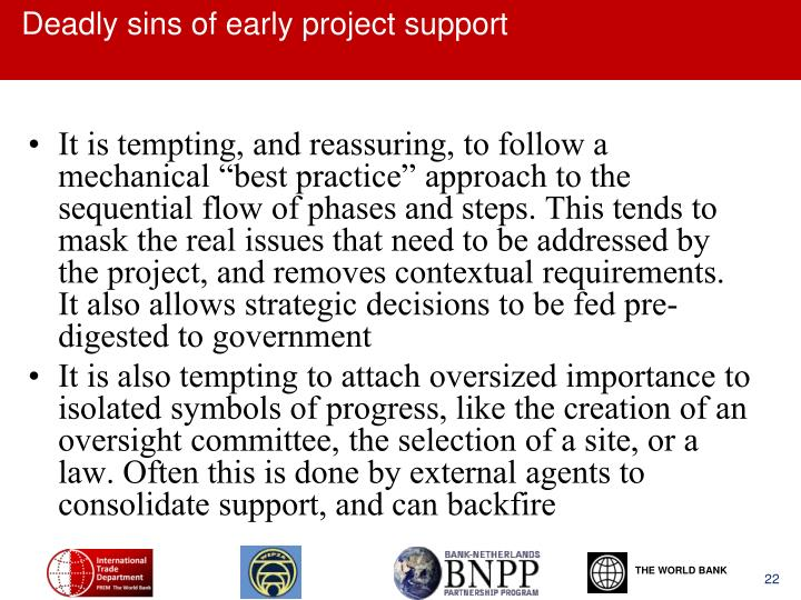 Deadly sins of early project support