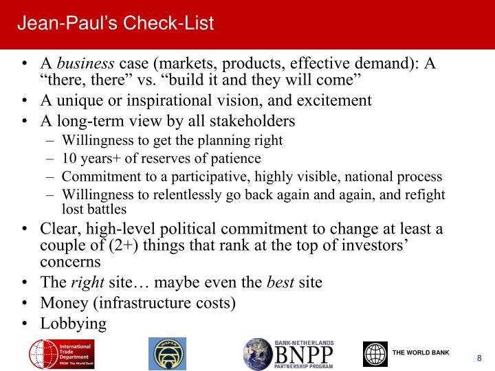 Jean-Paul's Check-List