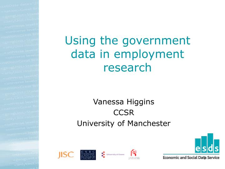 using the government data in employment research n.