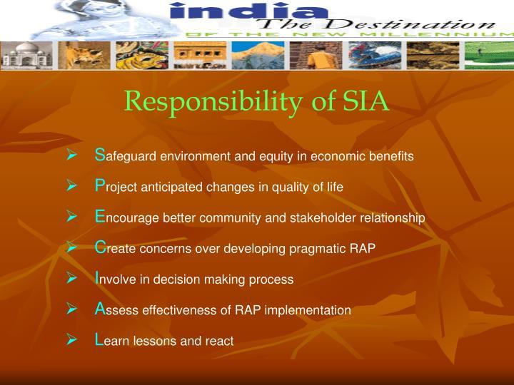 Responsibility of SIA