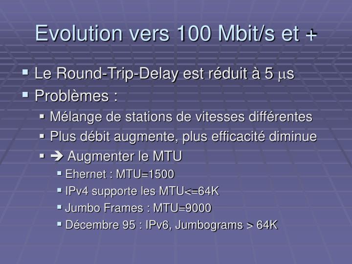 Evolution vers 100 Mbit/s et +