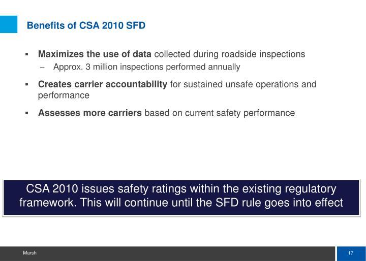 Benefits of CSA 2010 SFD