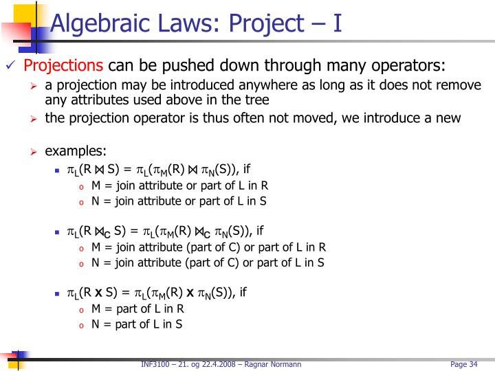 Algebraic Laws: Project – I