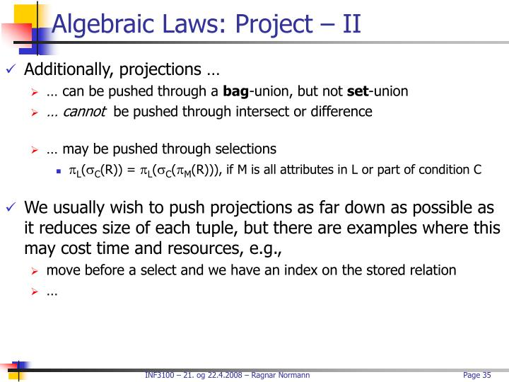 Algebraic Laws: Project – II
