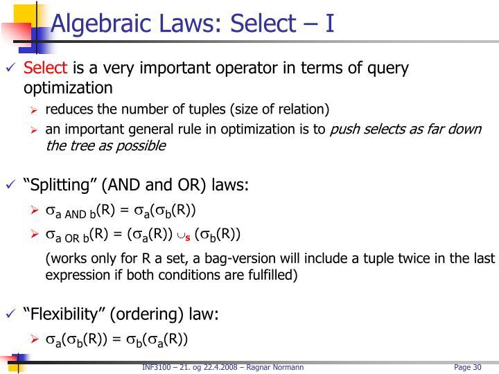 Algebraic Laws: Select – I