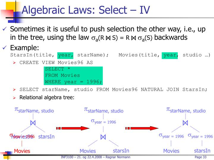 Algebraic Laws: Select – IV
