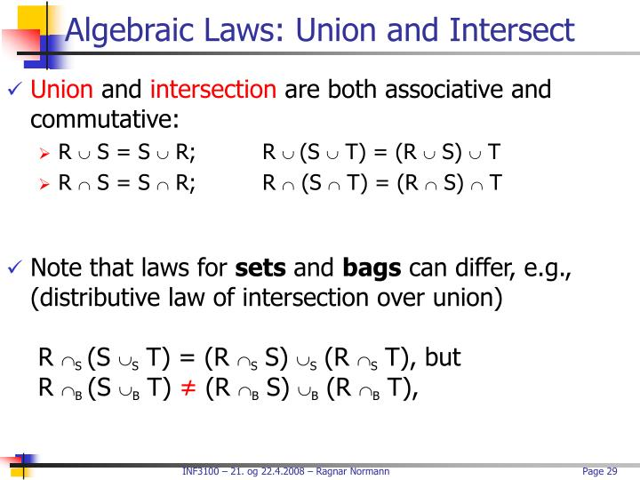 Algebraic Laws: Union and Intersect