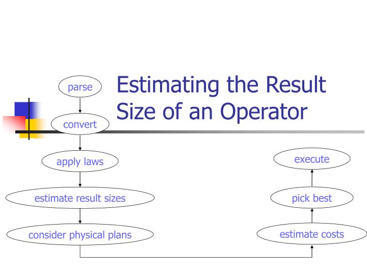 Estimating the Result Size of an Operator