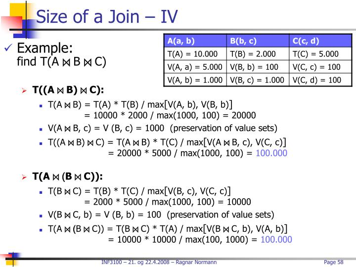 Size of a Join – IV
