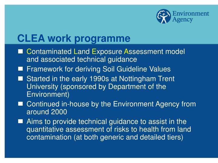 CLEA work programme