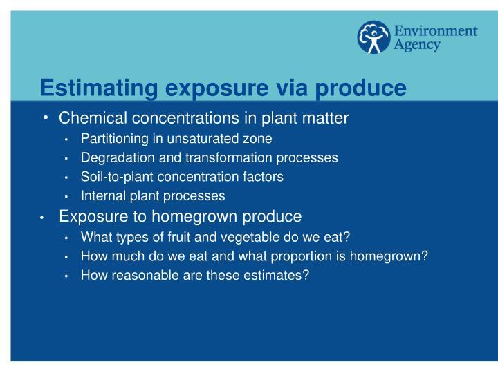 Estimating exposure via produce