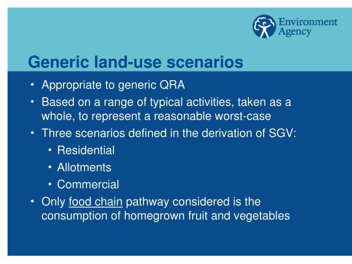 Generic land-use scenarios