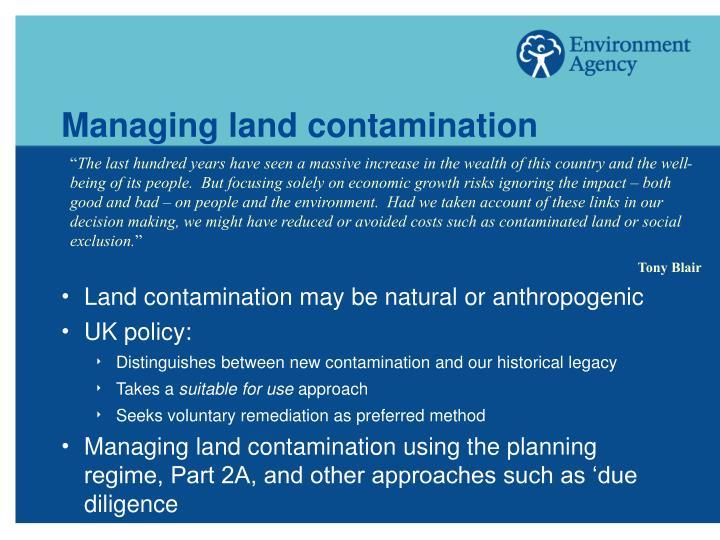 Managing land contamination
