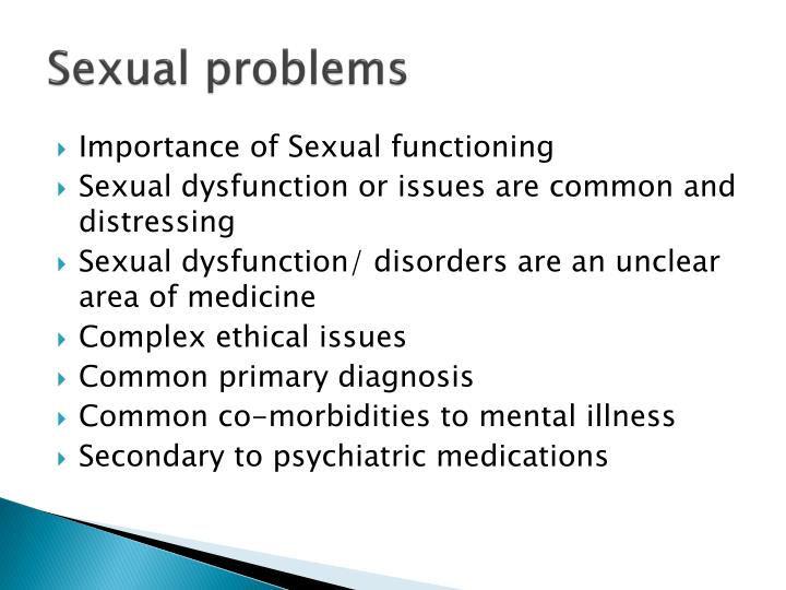 interventions for sexual issues and dysfunctions essay Interventions for sexual issues and dysfunctions lashawnda ogle walden university the wilson's are currently experiencing some sexual dysfunctions, a condition.