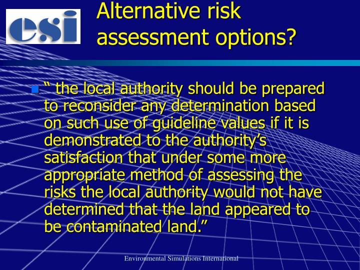 Alternative risk assessment options?