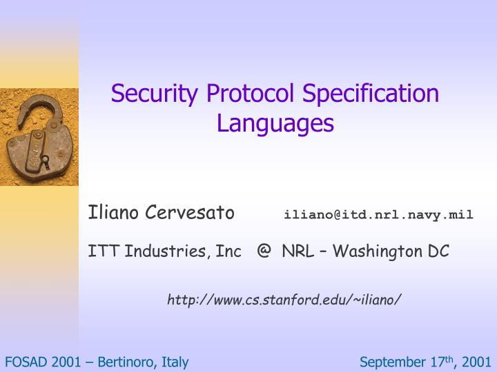 security protocol specification languages n.
