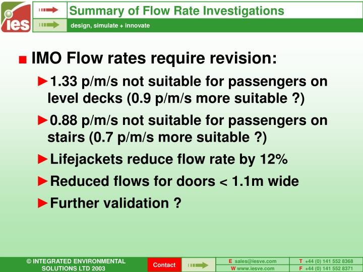 Summary of Flow Rate Investigations