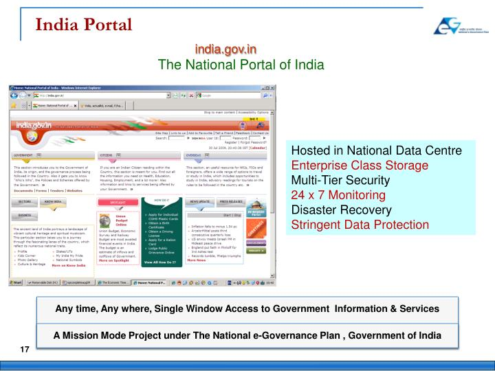 Any time, Any where, Single Window Access to Government  Information & Services