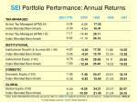 sei portfolio performance annual returns