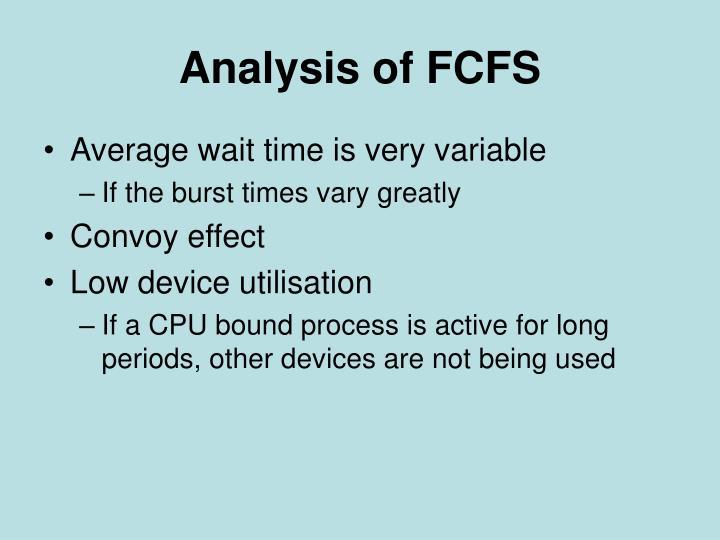 Analysis of FCFS
