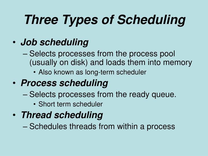 Three types of scheduling