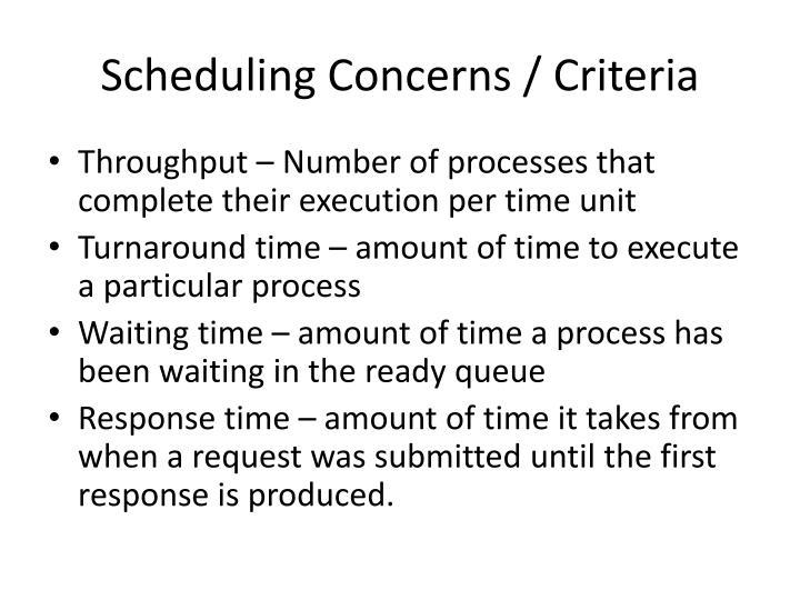 Scheduling Concerns /