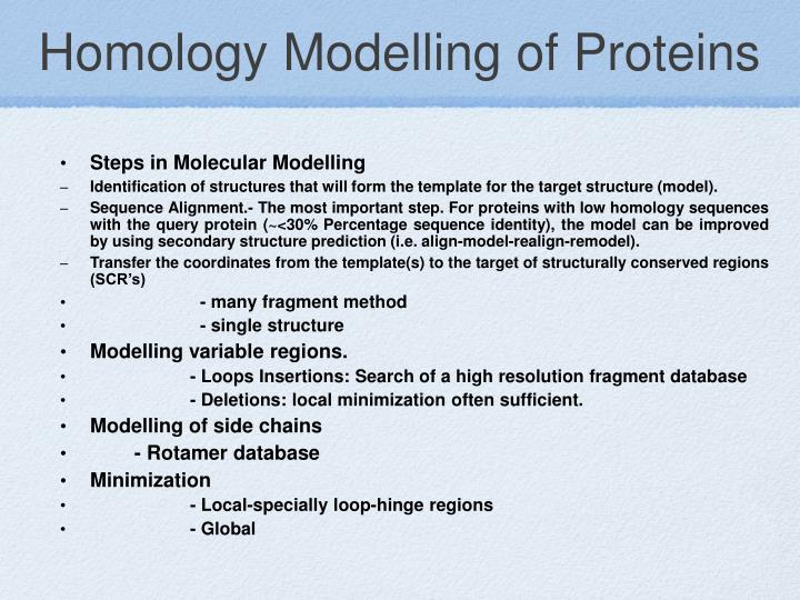 Homology Modelling of Proteins