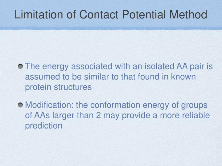 Limitation of Contact Potential Method