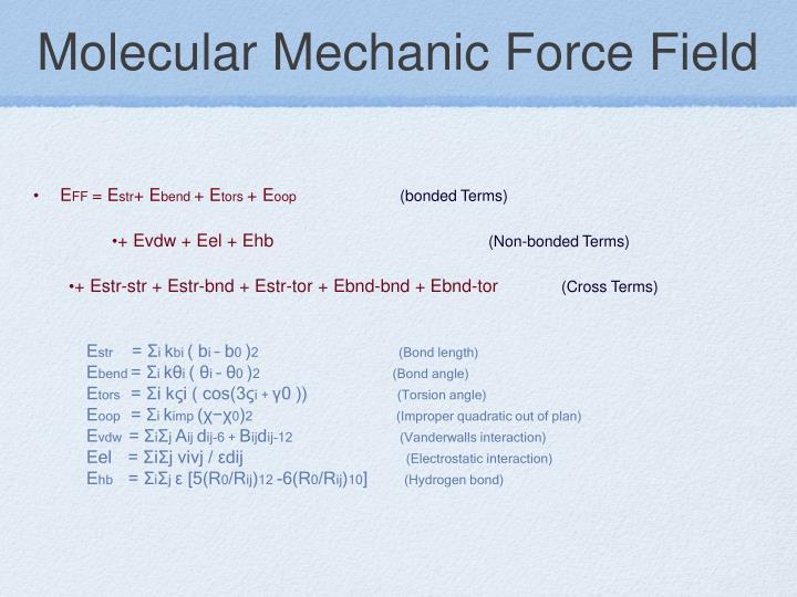 Molecular Mechanic Force Field