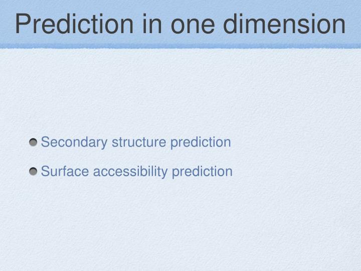Prediction in one dimension