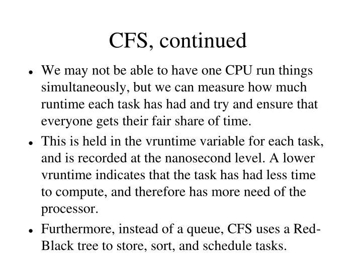 CFS, continued