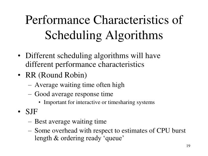 Performance Characteristics of Scheduling Algorithms