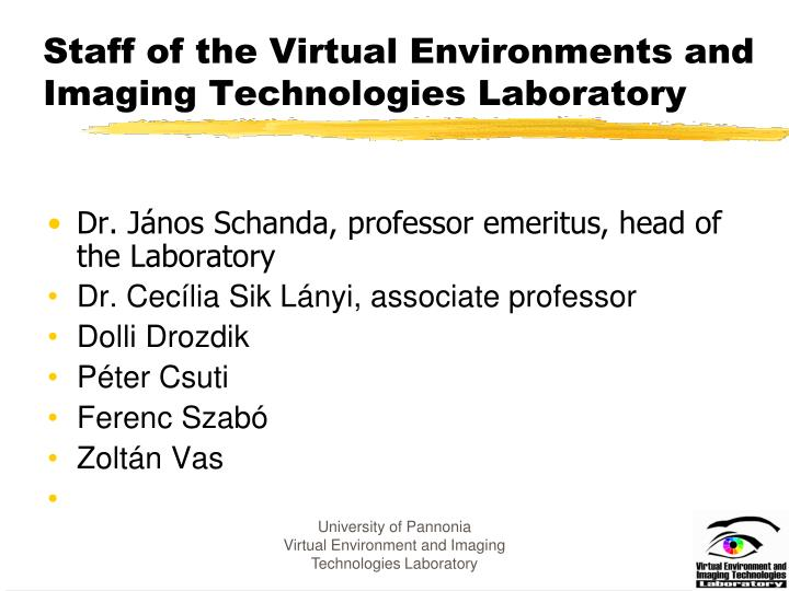 Staff of the Virtual Environments and Imaging Technologies Laboratory