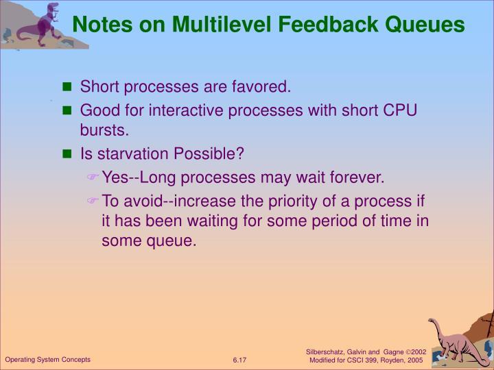 Notes on Multilevel Feedback Queues
