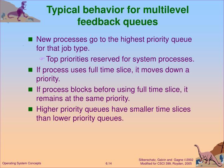 Typical behavior for multilevel feedback queues