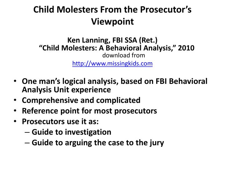 Child Molesters From the Prosecutor's Viewpoint