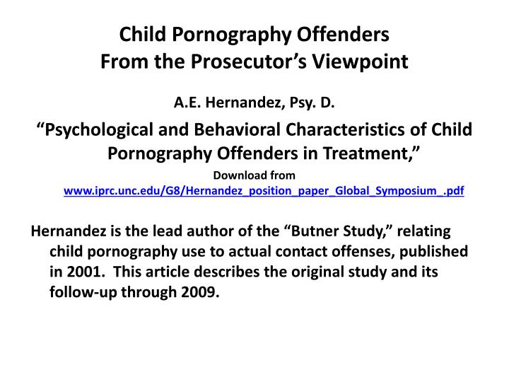 Child Pornography Offenders
