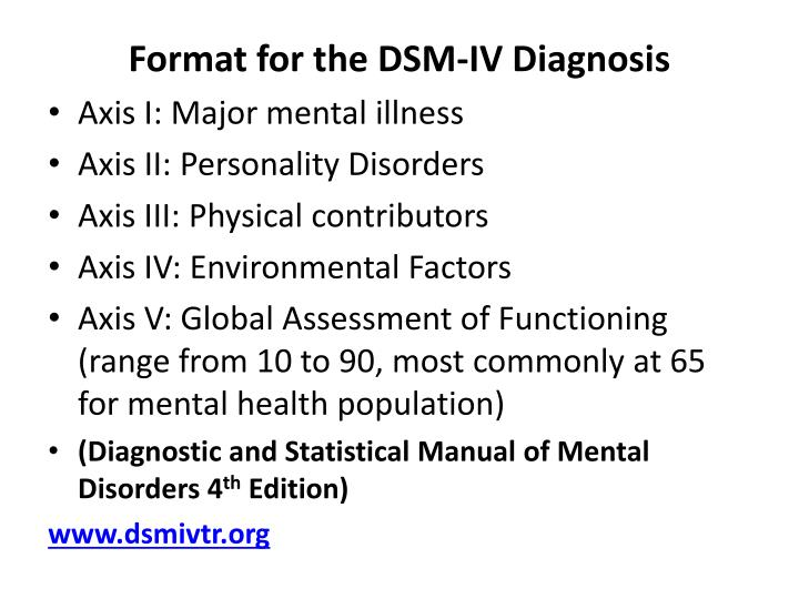 Format for the DSM-IV Diagnosis