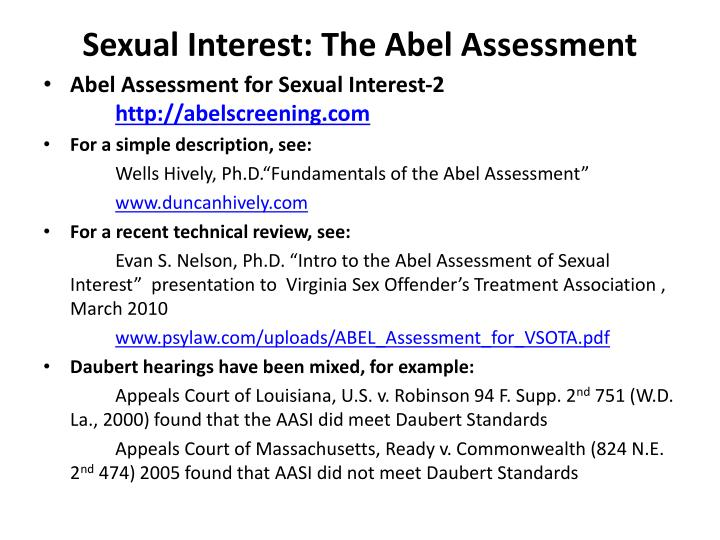 Sexual Interest: The Abel Assessment