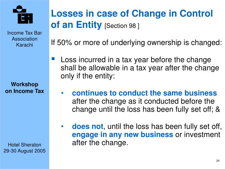 Losses in case of Change in Control of an Entity
