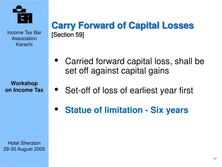 Carry Forward of Capital Losses